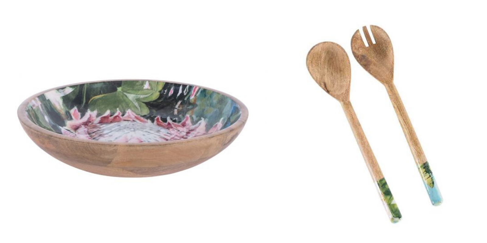 Early Settler salad bowl and servers